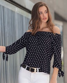 34 sleeve blouse-077- Negro y Blanco-MainImage