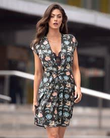 vestido semiajustado manga corta con tira para anudar-077- Estampado-MainImage