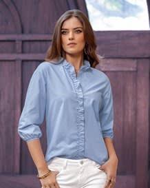 blusa manga 34 perilla con boleros-547- Blue-MainImage