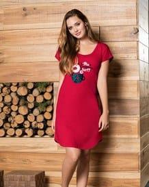 pijama estilo bata con estampado frontal-302- Rojo-MainImage