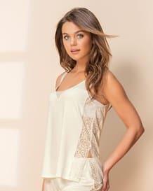 blusa de pijama con toques de encaje-898- Ivory-MainImage
