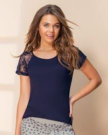 camiseta de pijama con manga corta de tul-457- Blue-MainImage