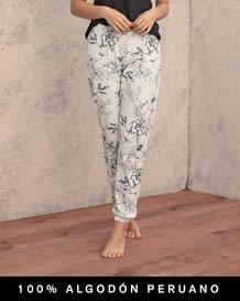 pantalon largo estampado con bolsillos delanteros - 100 algodon peruano-088- Ivory-MainImage