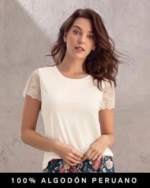blusa manga corta cuello redondo con encaje en mangas - 100 algodon peruano-898- Ivory-MainImage
