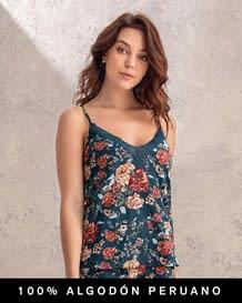blusa de tiritas con encaje en escote - 100 algodon peruano--MainImage