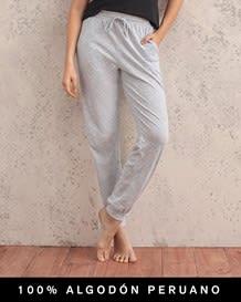 pantalon largo de pijama en comodo material - 100 algodon peruano-717- Gray-MainImage