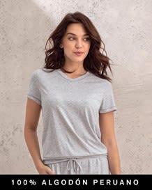 camiseta manga corta con cuello en v - 100 algodon peruano--MainImage