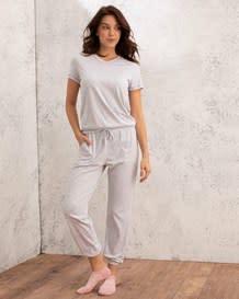 camiseta manga corta con cuello en v-717- Gray-MainImage