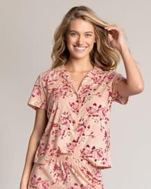 pure cotton short sleeve pajama shirt-040- Floral-MainImage