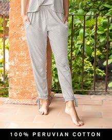 5050 stretch cotton long pajama pant-717- Gray-MainImage