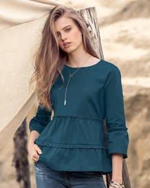 blusa manga 34 sileta amplia con boleros horizontales-556- Aqua-MainImage