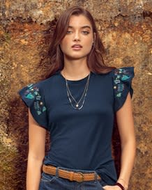 camiseta manga sisa con bolero bordado-567- Estampado-MainImage
