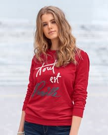 loose fit long sleeve french cotton pullover-370- Red-MainImage