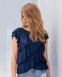 camiseta manga sisa anudado funcional en espalda-593- Dark Blue-MainImage