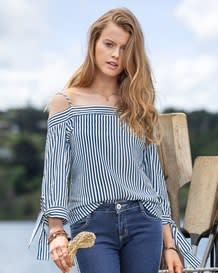 blusa manga 34 cuello bandeja anudado funcional-146- Stripes-MainImage