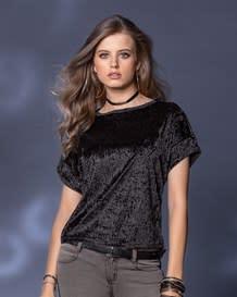 camiseta manga corta tejido con efecto gamuza-700- Black-MainImage