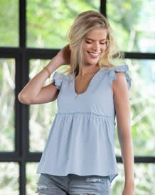 blusa manga sisa y cuello v-022- Light Blue-MainImage