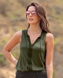 sleeveless blouse-603- Green-MainImage