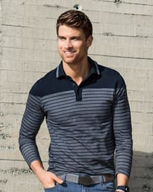 mens pure cotton button-down long-sleeved striped shirt-145- Blue-MainImage