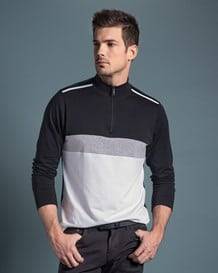 mens mock neck zip front sweater-097- Black/White-MainImage