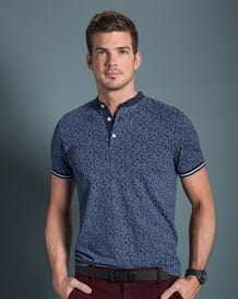 mens short sleeve cotton henley shirt-145- Printed-MainImage
