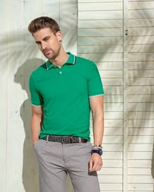 camiseta tipo polo estampada semi ajustada-697- Green-MainImage