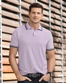 camiseta tipo polo tejido de punto-422- Lilac-MainImage