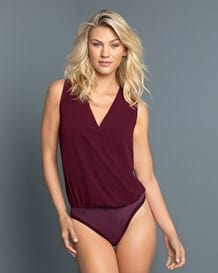 v-neck slimming thong bodysuit with built-in blouse-155- Purple-MainImage