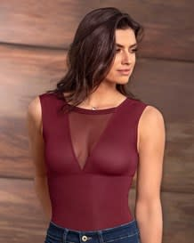 mesh double-v neck moderate shaper bodysuit-349- Wine-MainImage