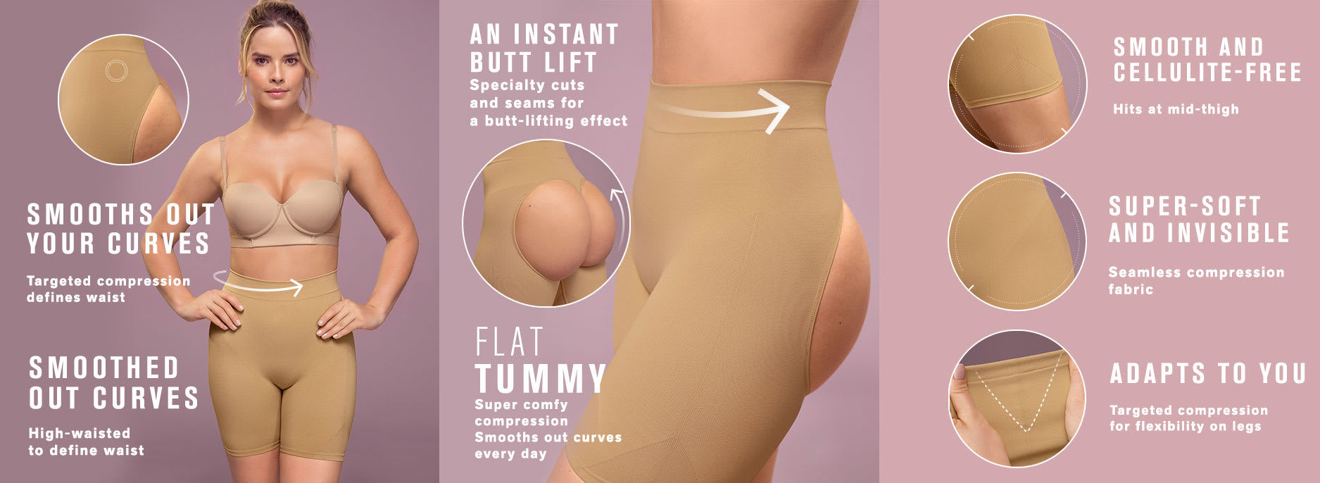 Invisible Open-Back Bum Lifter Shaping Short