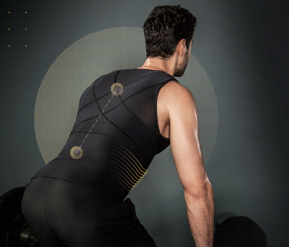 Mens slimming vest with back support
