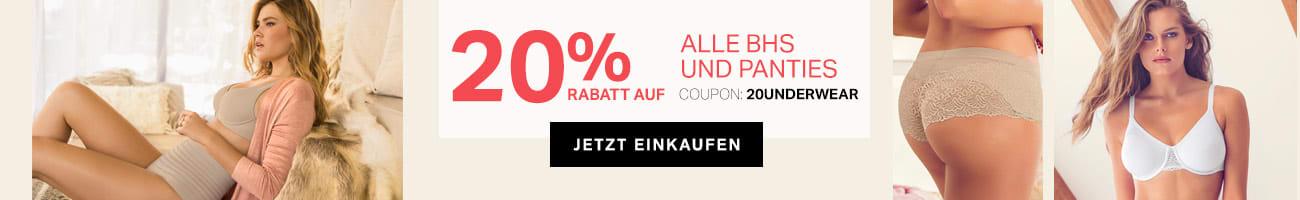 20% Rabatt auf ALLE BHs und Panties