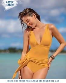 one-piece plunge recycled slimming bathing suit - two-way tie sash-101- Yellow-MainImage