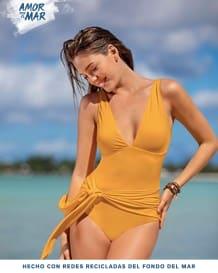 vestido de bano de escote profundo con cargaderas graduables--MainImage