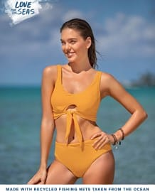 incredible recycled bikini - tie-front-101- Yellow-MainImage