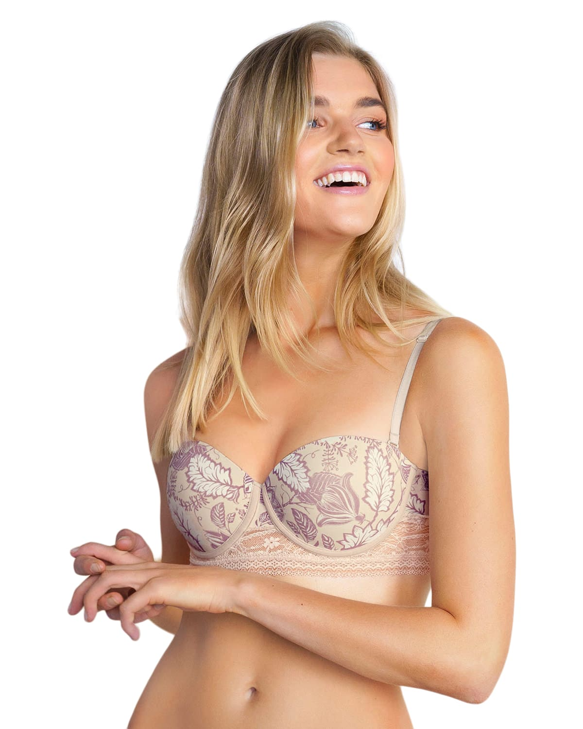 Natural Push-Up Strapless Bra with Delicate Lace