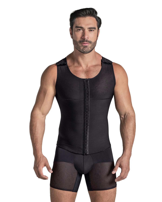 Men's Firm Shaper Vest with Back Support - Front Hook Closure