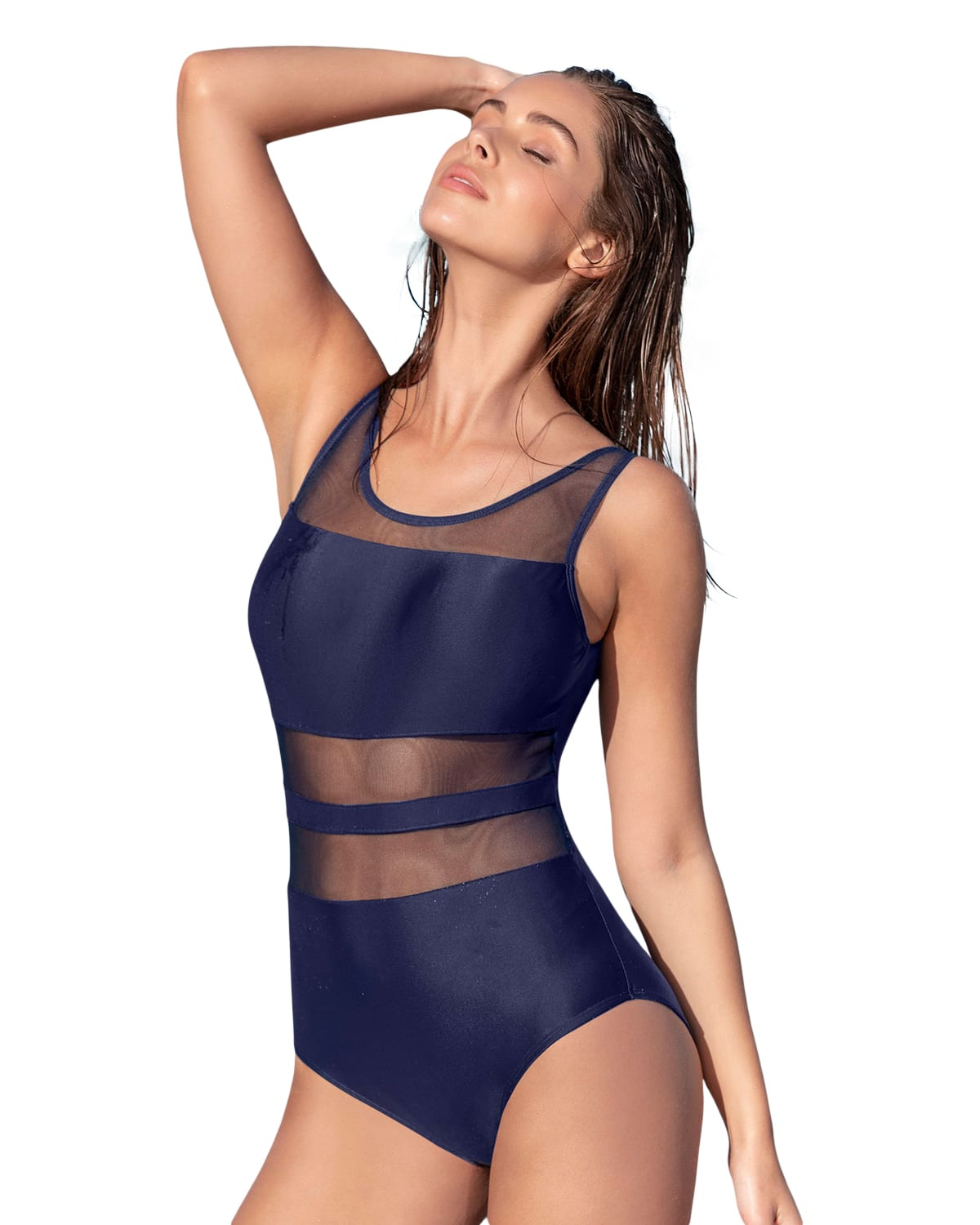 Sophisticated Mesh Cutout One Piece Swimsuit with Lower Tummy Control