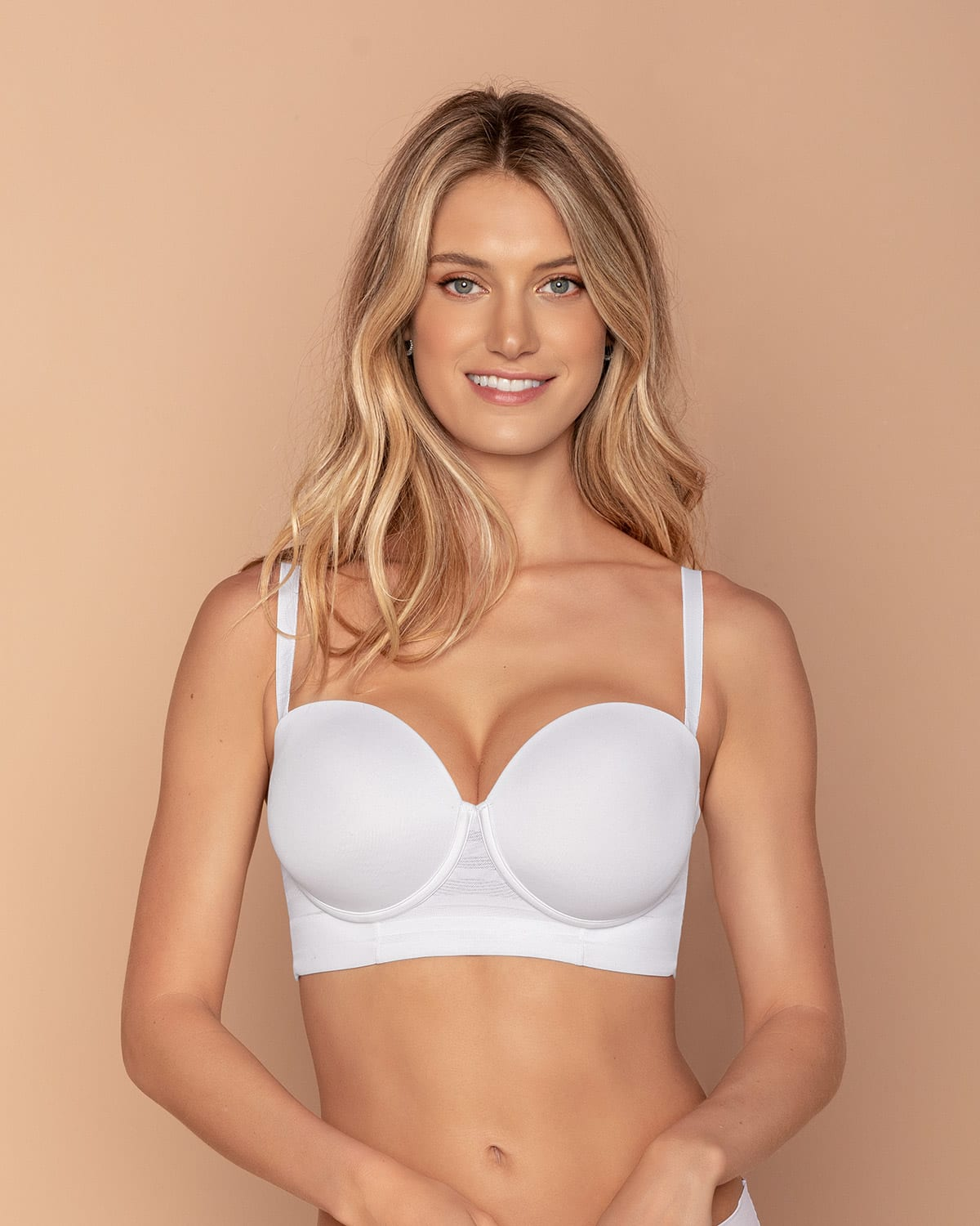 Lace Stripe Underwire Push Up Bra - SUPPORT STRAPLESS