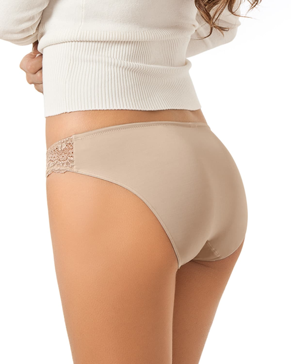 Mid-Rise Lace Brief Panty With Seamless Back