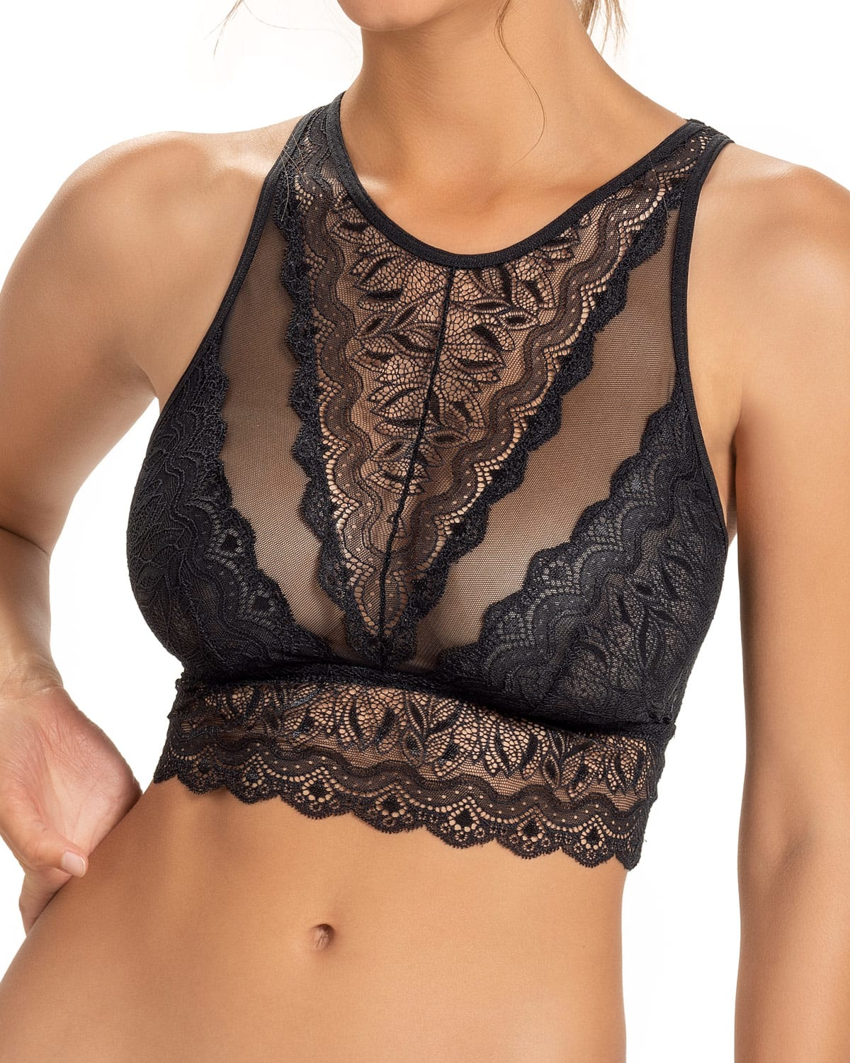 High-Neck Unlined Lace Crop Top Wireless Bralette