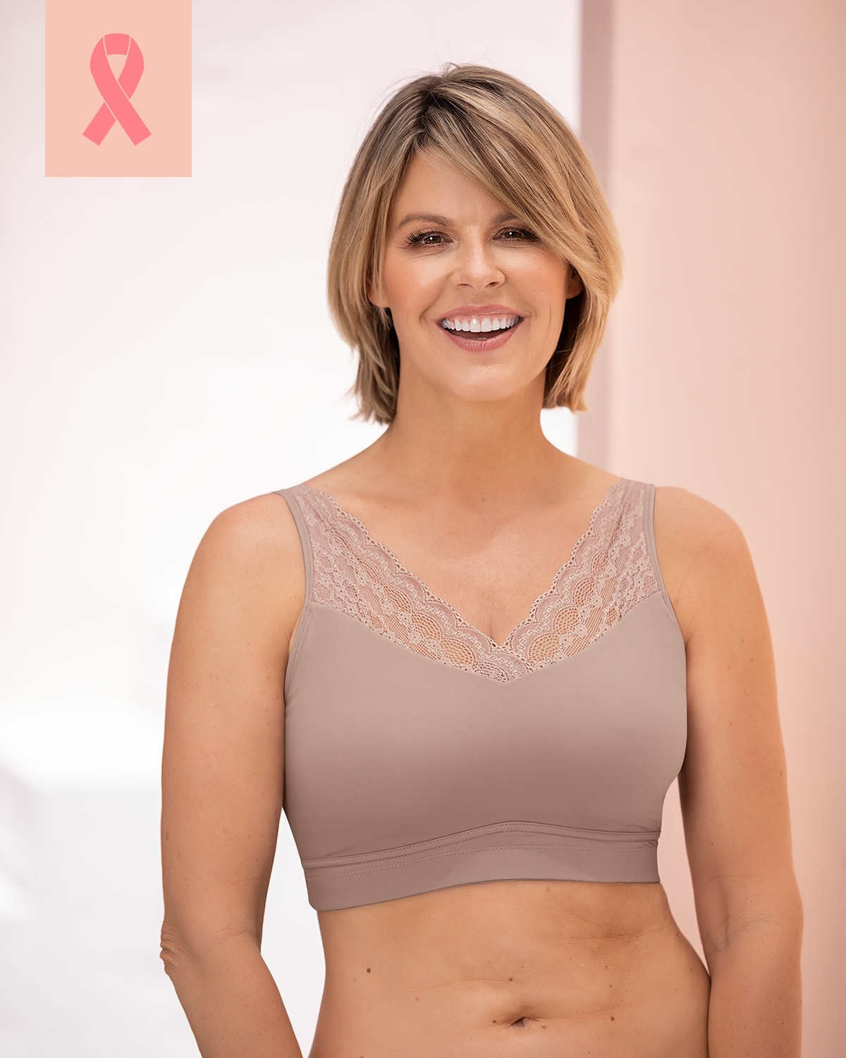 Pocketed Mastectomy Bra - Wireless, Lace, Removable Padding