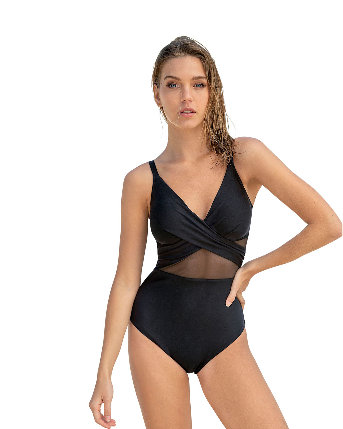 Cross-Front One-Piece Shaping Swimsuit