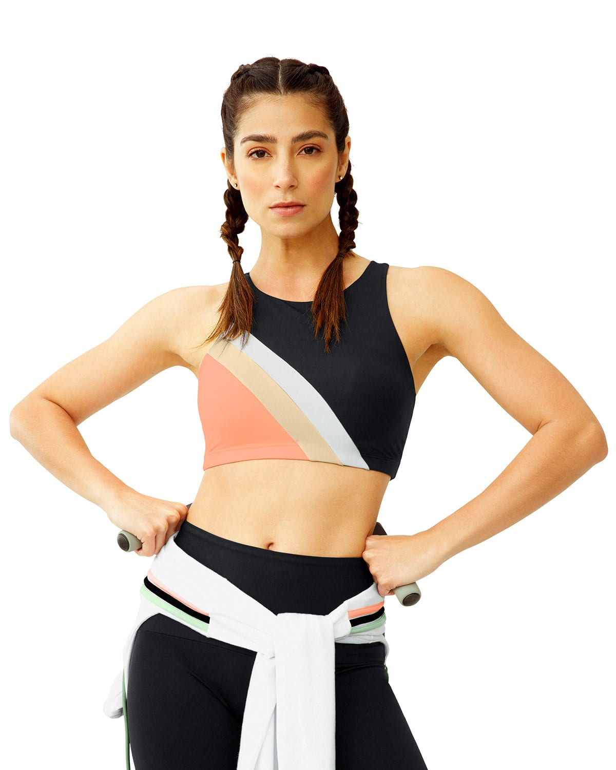 Eco-Friendly Recycled High-Neck Crop Sports Bra