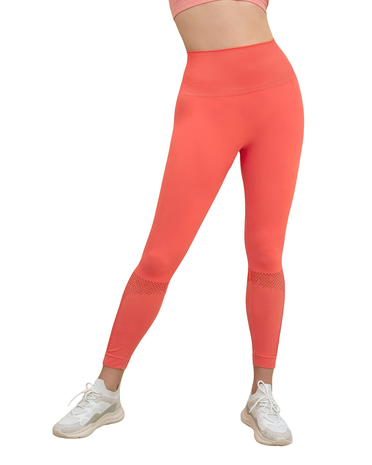 High Waisted Legging with Double-Layered Waistband and Breathable Mesh Cutouts