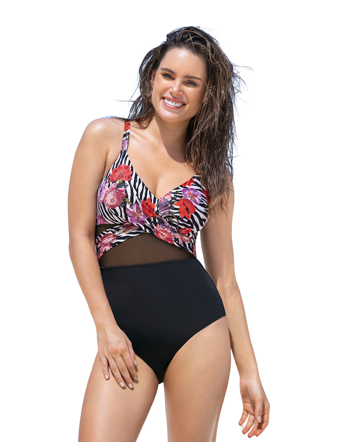 Cross-Front Contrasted One-Piece Slimming Swimsuit