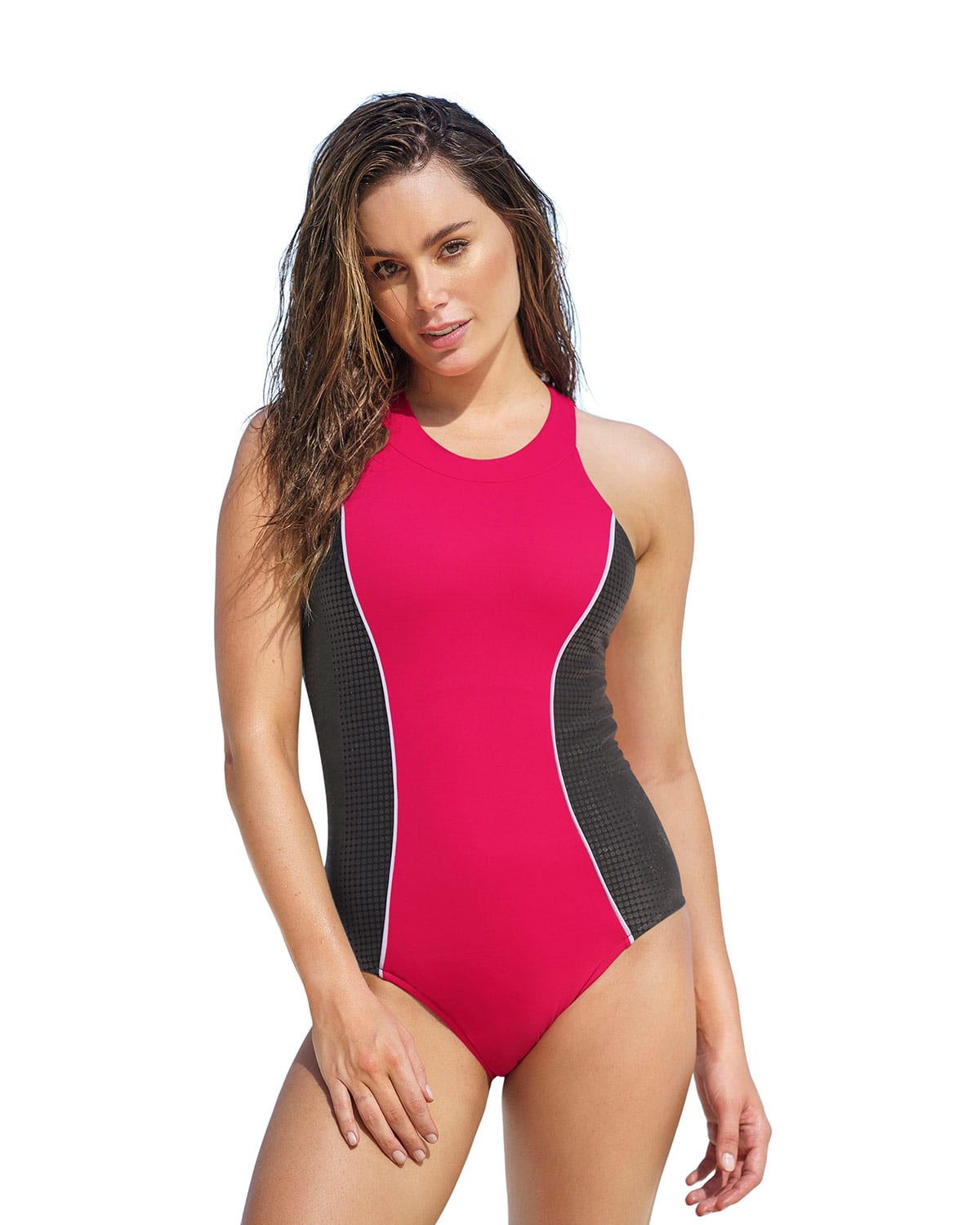One-Piece Silicone Side Shaping Swimsuit