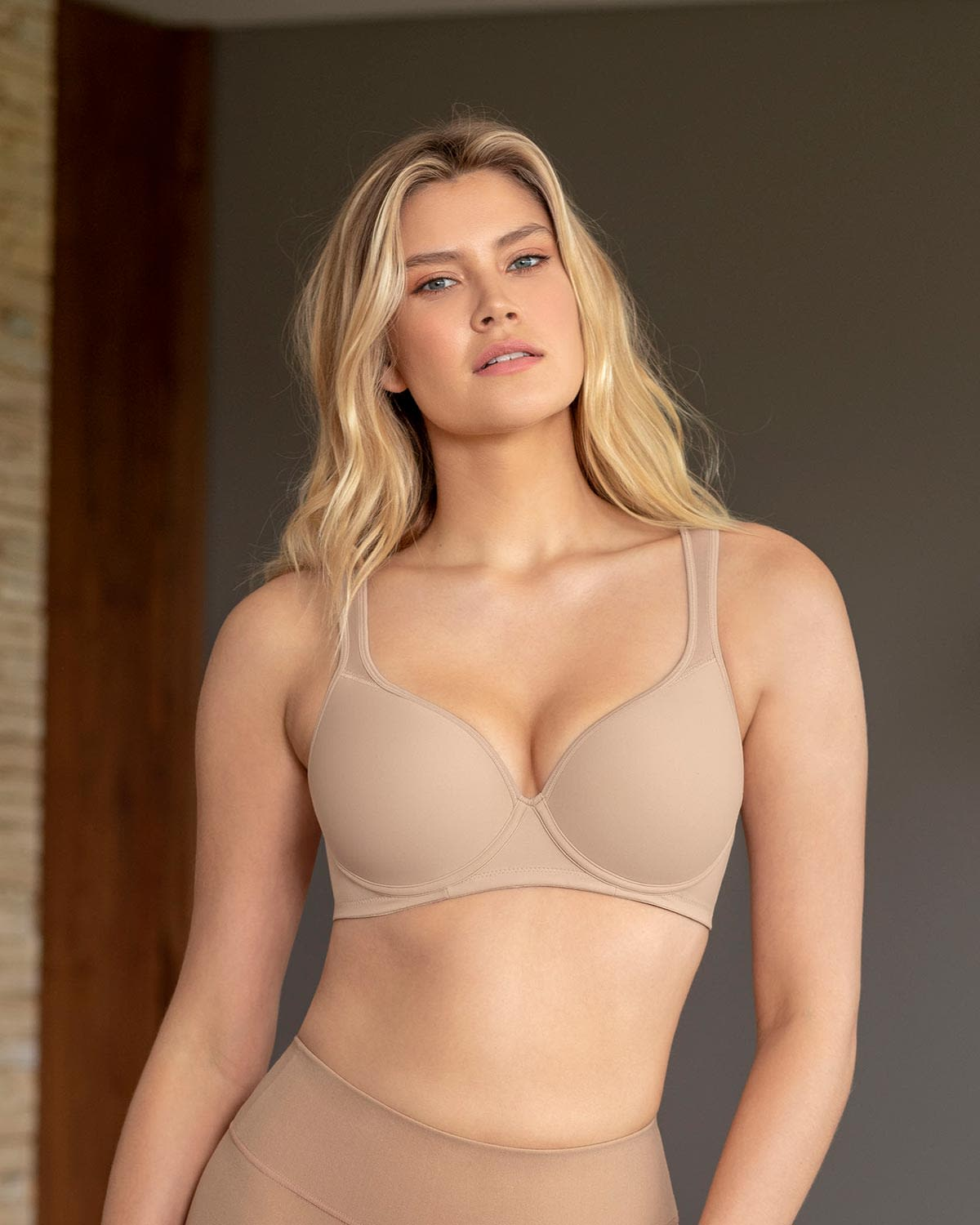 Underwire Triangle Bra with High Coverage Cups