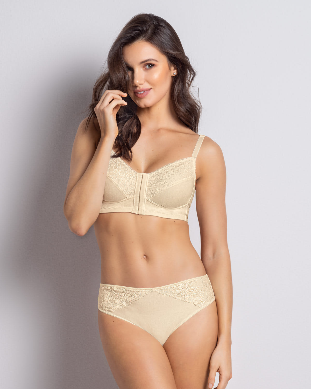 Full Cup Stretch Cotton Lace T-Shirt Bra
