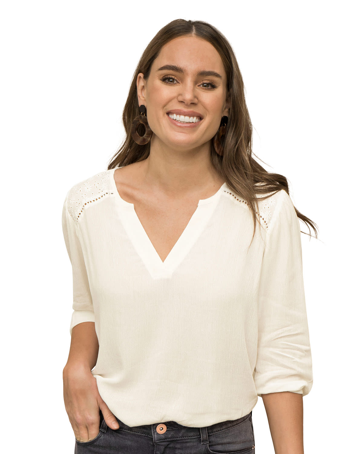 ¾ Sleeve Top with Eyelet Shoulder Accents
